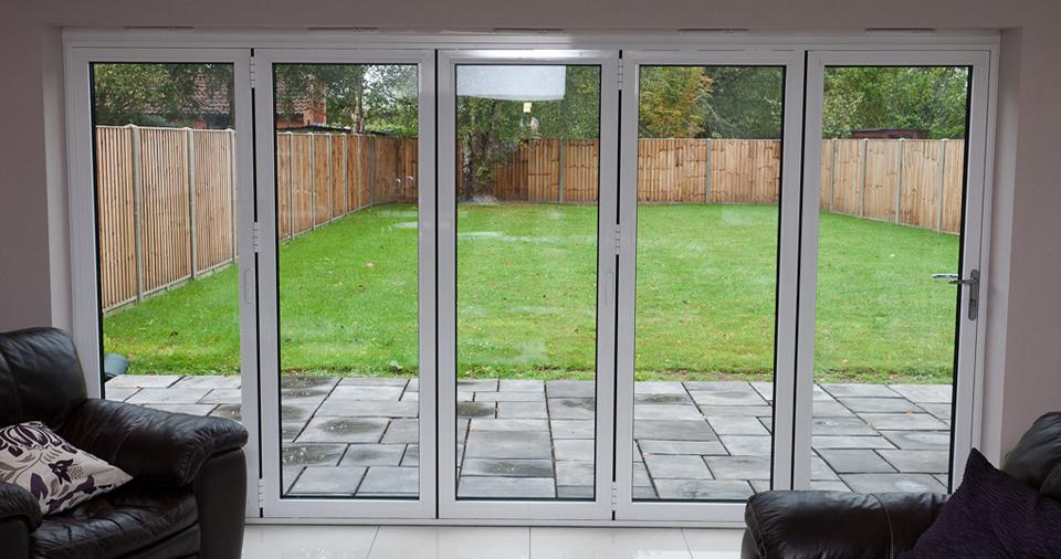 aluminium bi folding doors white internal